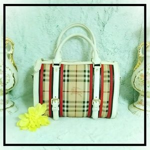 Authentic Burberry Haymarket Alchester Satchel Bag